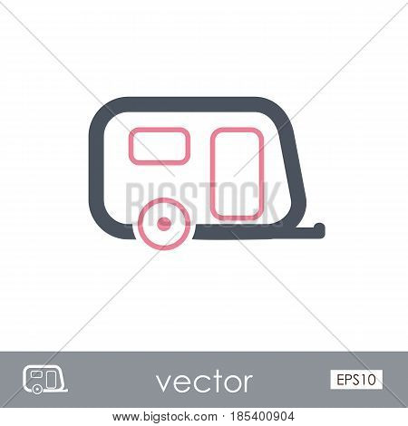 Camping trailer outline vector icon. Beach. Summer. Summertime. Holiday. Vacation eps 10