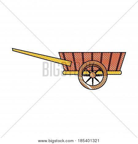 drawing wheelbarrow wooden trasnport element vector illustration