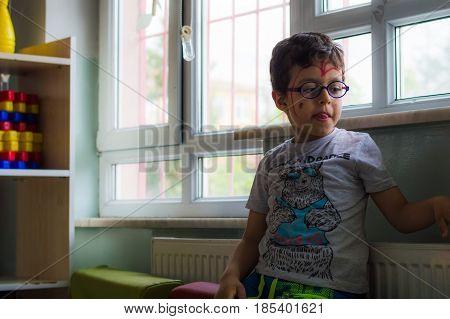 Eskisehir, Turkey - May 05, 2017: Little Boy Sitting Alone In The Classroom.