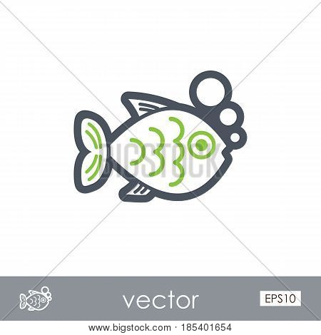 Fish outline vector icon. Beach. Summer. Summertime. Holiday. Vacation eps 10