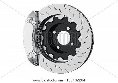 Brake car steel disk part. 3D rendering