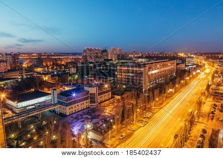 Night Voronezh cityscape from rooftop of Leninskiy Prospect