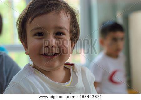 Eskisehir, Turkey - May 05, 2017: Sweet Little Boy In Kindergarten Classroom