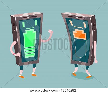 Mobile Phone Full Low Battery Charge Energetic Exhausted Design Cartoon Vector Illustration