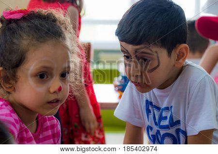 Eskisehir, Turkey - May 05, 2017: Preschool Kids Attending To An Animal Day Event In Kindergarten