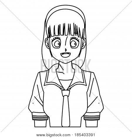 cartoon girl anime character outline vector illustration