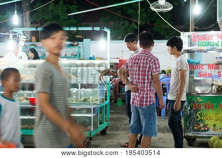 Duong Dong, Phu Quoc, Vietnam - April 20, 2014 -Vietnameese asian traditional night market