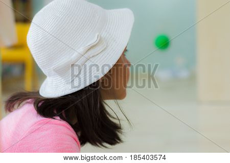 Eskisehir, Turkey - May 05, 2017: Preschool Little Girl Wearing White Head In Classroom.