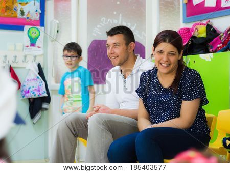 Eskisehir, Turkey - May 05, 2017: Parents Sitting And Watching Their Kids In A Preschool Classroom.