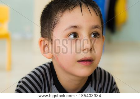 Eskisehir, Turkey - May 05, 2017: Preschool Little Boy Looking Curiously In A Classroom