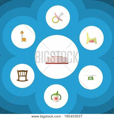 Flat Child Set Of Nipple, Toy, Tissue And Other Vector Objects. Also Includes Bed, Potty, Tissue Elements.