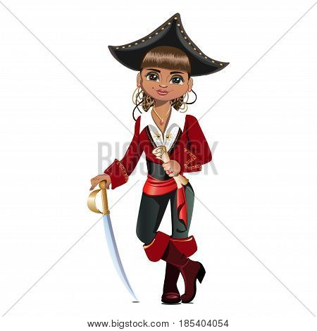 Cute pirate girl in a hat. Colored Vector illustration.