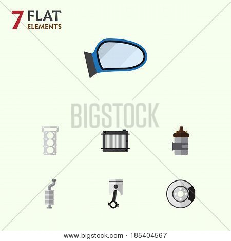 Flat Component Set Of Heater, Auto Component, Packing And Other Vector Objects. Also Includes Silencer, Combustion, Disk Elements.