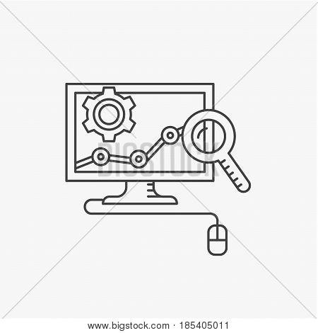 Conversion rate optimization vector line icon. Internet marketing concept.