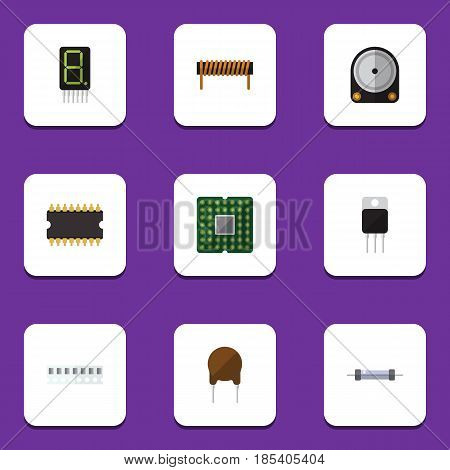 Flat Device Set Of Triode, Resistor, Display And Other Vector Objects. Also Includes Hard, Calculate, Display Elements.
