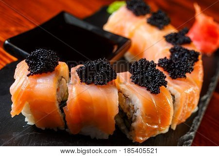 Salmon Sushi Rolls With Shrimps