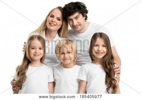 Family portrait of five people with children isolated on white background