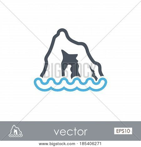 Rocks in the sea outline vector icon. Travel. Summer. Summertime. Holiday. Vacation eps 10