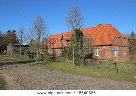 Former Foal Stable On Palace Grounds In Griebenow, Mecklenburg-vorpommern, Germany. The Street Name