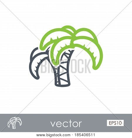 Palm tree outline vector icon. Beach. Summer. Summertime. Holiday. Vacation eps 10