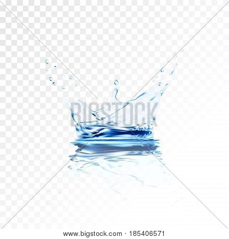 Transparent water splash with reflection and drops isolated. 3d illustration vector. aqua surface background created with gradient mesh tool. Liquid crown from falling into the water in light blue