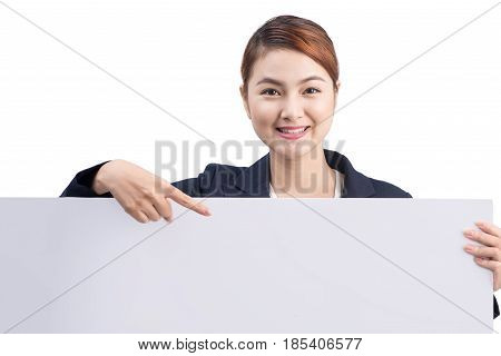Young Attractive Asian Woman Showing A White Board