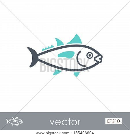 Tuna outline vector icon. Fishing. Summer. Summertime. Holiday. Vacation eps 10