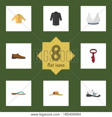 Flat Garment Set Of Banyan, Elegant Headgear, Brasserie And Other Vector Objects. Also Includes Headgear, Shoes, Gumshoes Elements.