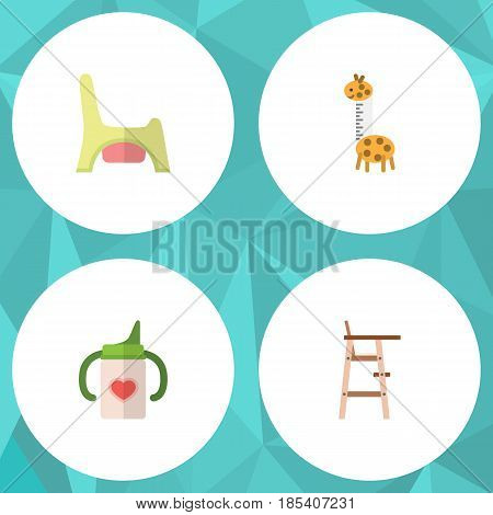 Flat Kid Set Of Toy, Nursing Bottle, Child Chair And Other Vector Objects. Also Includes Toy, Chair, Potty Elements.