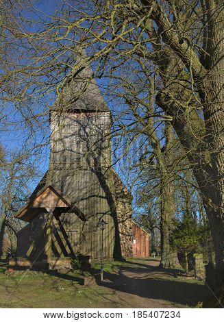 Church With Wooden Tower And Bell Frame In Dersekow, Mecklenburg-vorpommern, Germany