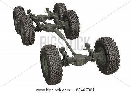 Truck military chassis suspension undercarriage. 3D rendering