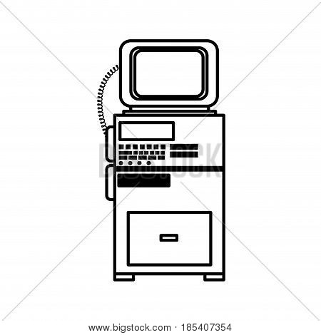 monitor cardiology clinic equipment support line vector illustration