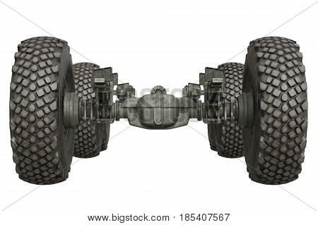 Truck military chassis with wheels, front view. 3D rendering