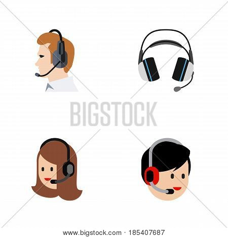 Flat Center Set Of Telemarketing, Earphone, Operator And Other Vector Objects. Also Includes Service, Center, Operator Elements.