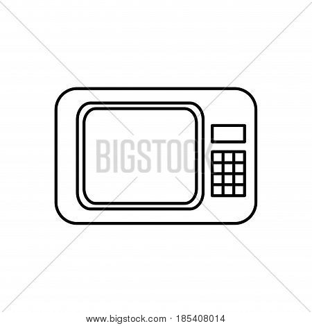 microwave appliance electronic food line vector illustration