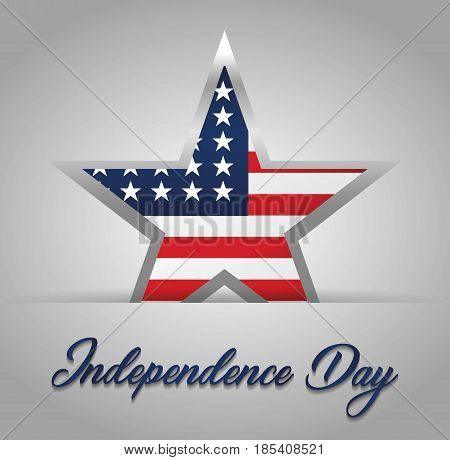 usa independence day with star icon with usa country flag icon over gray background. colorful design. vector illustration