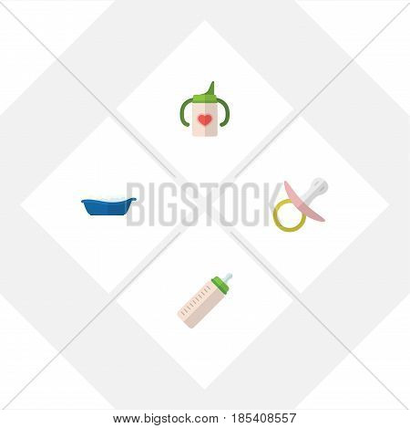 Flat Child Set Of Nipple, Feeder, Nursing Bottle And Other Vector Objects. Also Includes Bathtub, Bathing, Soothers Elements.
