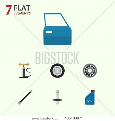 Flat Workshop Set Of Wheel Pump, Pipeline, Tire And Other Vector Objects. Also Includes Puller, Petrol, Ball Elements.