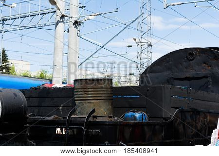 SARATOV RUSSIA - MAY 6 2017: Fragment of the mobile museum Victory Train dedicated to the Great Patriotic War. Steam locomotive compartment for coal storage.