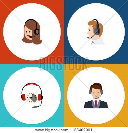 Flat Telemarketing Set Of Service, Headphone, Telemarketing And Other Vector Objects. Also Includes Secretary, Service, Telemarketing Elements.