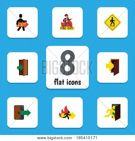 Flat Emergency Set Of Directional, Emergency, Fire Exit And Other Vector Objects. Also Includes Fire, Board, Entrance Elements.