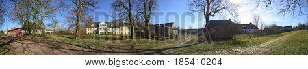 Panorama Of Magnificient Manor House With Garden In Dambeck, Mecklenburg-vorpommern, Germany
