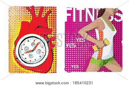 A set of two illustrations about cardio. An anatomical image of the heart with a stylized stopwatch inside. Girl with dumbbell in right hand. On an ornamental background