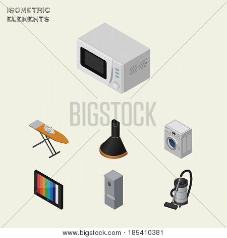 Isometric Appliance Set Of Cloth Iron, Microwave, Television And Other Vector Objects. Also Includes Hood, Board, Device Elements.