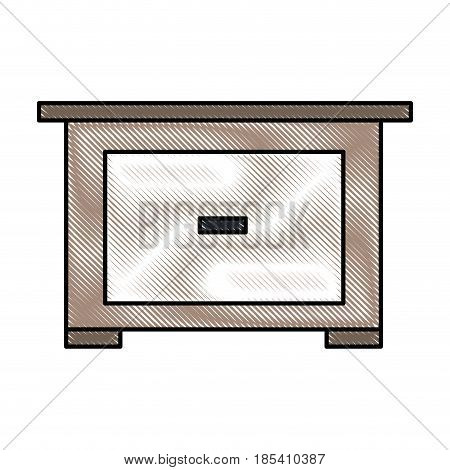 drawing bedside table wooden furniture room vector illustration
