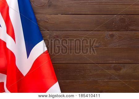 Uk Flag On Wooden Background.the Place To Advertise, Template.