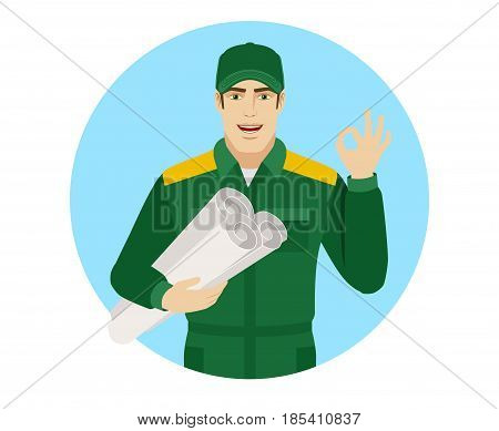Worker holding the project plan and showing a okay hand sign. Portrait of Delivery man or Worker in a flat style. Vector illustration.
