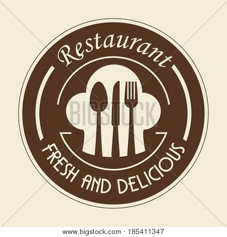 Brown restaurant sign with silverware and toque blanche over beige background. Vector illustration.