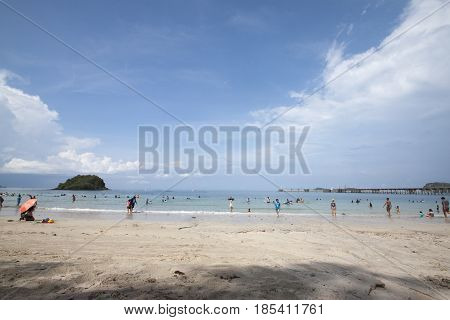 SATTAHIP CHONBURI THAILAND,APRIL 14,2017 : Playing on the beach at Hat Nang Ram Sattahip Chonburi Thailand.