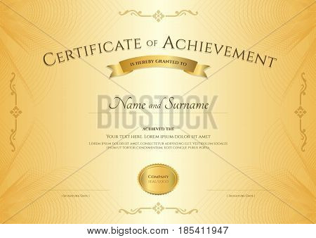 Elegant certificate of achievement template on abstact guilloche background with vintage border style